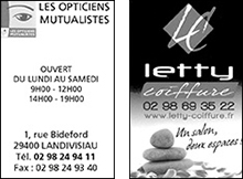 Opticiens mutualiste et Letty coiffure partenaire du football Club Bodilis Plougar